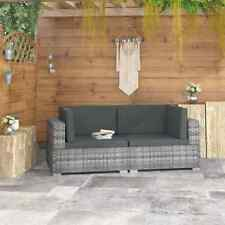 vidaXl 2 Piece Garden Sofa Set with Cushions Poly Rattan Gray Lounge Loveseat