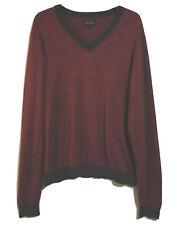 LAKELAND Men's L SLIM FIT Jumper Sweater Knitwear Striped Cotton Autumn V Neck