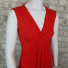 Vintage Maxi Dress Sze 3P Orange High Waist Ruched Front Sleeveless Shawn Jrs