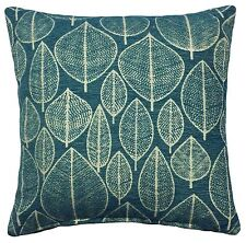 "2 X TEAL CREAM LEAF LUXURIOUS THICK CHENILLE CUSHION COVERS 17"" - 43CM"