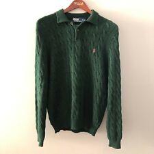 Polo Ralph Lauren Vintage Men's XL Sweater Blue Label Pima Cotton Green