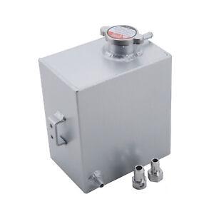 2.5L Universal Aluminum Coolant Overflow Tank Expansion Bottle With Cap Silver