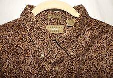 "Natural Issue LS 100% Cotton BUTTON DOWN SHIRT Dark Brown Print Sz XL 54"" Chest"