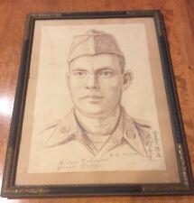 Japenes Sketch Of American Soldier 1955 Hideo Takeyari Ginza Tokyo