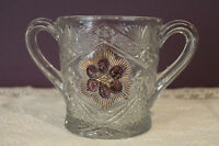 EAPG INDIANA GLASS RAYED FLOWER GOLD AND RUBY RED DOUBLE HANDLED SUGAR BOWL