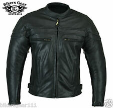 NEW STURGIS MENS LEATHER MOTORCYCLE JACKET ZIP/OUT LINER CE ARMOUR BRASS ZIP XL