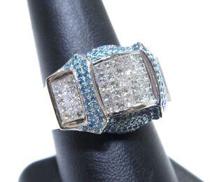 14k White Gold White & Blue Invi & Prong Set Colored Diamond Ring 3.00ct