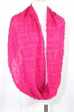 B36 Raw Edge Square Pattern Boutique Fuchsia Bright Pink Infinity Scarf