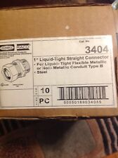 "Hubbell Raco 3404 1"" Liquid-Tight Straight Connector - New Box of 10"