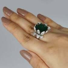 Gorgeous Flower Petals Design 11.00CT Tsavorite Garnet & White CZ Women's Ring