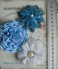 BLUE Fabric - Cotton Lace & Organza 3 Flower Pack - 70-75mm Manor House