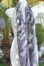 Black Palm Tree Sheer Sarong Bikini Pool Coverup Shawl Winter Scarf Dress Wrap