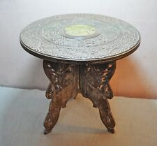 Original Old Antique Hand Crafted Carved Wooden Small Folding Side Eng Table