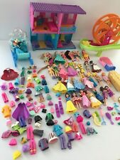 Large Lot Of polly pocket 32 Dolls clothes,hotel,rollercoaster