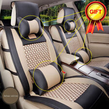 AU Stock Car Seat Cover PU Leather Mesh 5-Seats Front+Rear+Pillows Set Size M