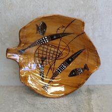 Mid Century Pottery Bowl with Fish and Fishing net made in Italy numbered 6289