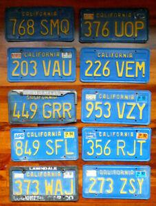 1970-1986 10 CALIFORNIA BLUE & YELLOW CALIFORNIA CAR LICENSE PLATE/S CHEVY DODGE