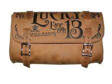 Lucky 13 Mfg Co Leather Tool Pouch Bag Tan Hot Rod Motorcycle Scene Tattoo