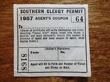 1957 Southern Railroad Railroad Clergy Permit Ride at Reduced Rate Ticket Stub