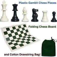 Plastic Gambit Chess Set, Folding Board and Drawstring Bag