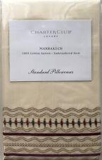 CHARTER CLUB LUXURY MARRAKECH EMBROIDERED HEM 2 STANDARD PILLOWCASES NIP