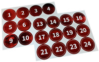 Advent Calendar Countdown 24 -1 Sleeps until Christmas Stickers RED FOIL Labels