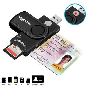 USB 2.0 Smart Card Reader Adapter for Military CAC DOD Bank ID Card Micro SD/TF