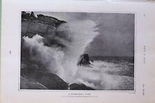 1903 Imprimé Tempête Lashed Côtier Atlantic Vagues Scilly Îles