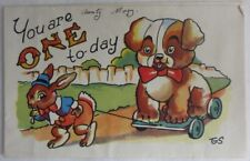 VINTAGE 1st BIRTHDAY GREETINGS PICTORIAL CARD    (INV3005)