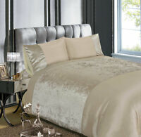 Luxury Crushed Velvet Quilt Cover Mink Soft Gold Bed Linen Bedding Set FREE P&P
