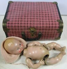 "Vintage 1930's Composition 12"" Doll in Suitcase"