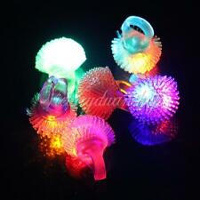 Led Light Up Flashing Bubble Ring Rave Party Favors Blinking Soft Jelly Glow