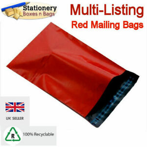 STRONG RED MAILING BAGS - Postage Mailers Plastic Post Polythene *RECYCLABLE*