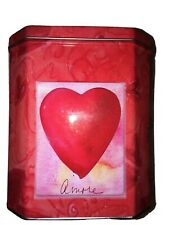 Valentine's Love Amore Heart Tin Cookies Pink Red Gift Some Goodies Large