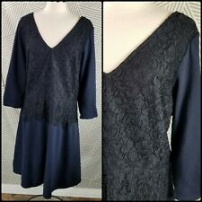 Lane Bryant Womens Plus size 26 Blue Lace Dress Long Sleeve Stretch cocktail