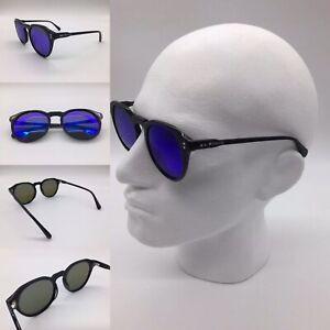Men's Black Acetate Frame Blue Mirror TAC Polarized Sunglasses 100% UV 400