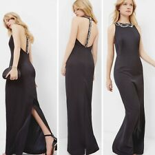 NWT $649 TED BAKER Women's Ferahh Black Low Back Embellished Gown Size 4/US10