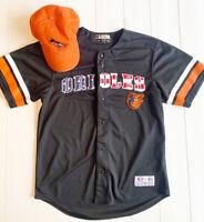 Baltimore Orioles MLB Men's Black USA Jersey Size Medium + Orange Adjustable Hat