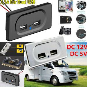 Presa Doppia USB da Pannello Caricabatteria per Auto Camper Barche 12V