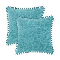 2Pcs Teal Pom Poms Cushion Covers Pillows Shell Case Chenille Home Decor 40x40cm