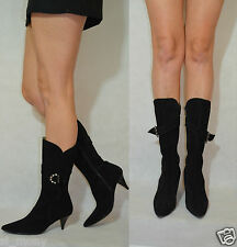 Women Black Mid Calf Boots Comfort Real Suede Soft Zipped by Gateor Size 6,5