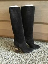 Casadei Brown Suede Gold Chain Boots Size 35.5 Pre-owned