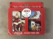Nostalgia Playing Coca Cola Cards in Tin Christmas 1995 2 sets of cards New D14
