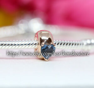 Authentic PANDORA Blue Heart Solitaire Clip 14k Rose Gold-plated charm 789203C02