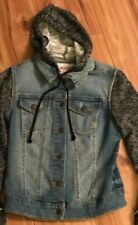 Mossimo Supply Co Denim Jean Jacket Hoody Knit Sweatshirt Sleeves XS Woman's