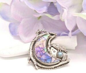 Dark Dreamer - Sterling Raven With Monarch Opal Moon Necklace by Nightgypsy83