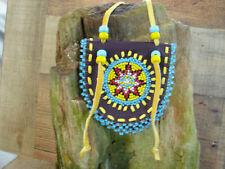"""Native American Beaded Leather Medicine Bag  Necklace Pouch  Hancrafted  3 1/4"""""""
