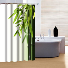 Bamboo Classy Design Shower Curtain Polyester Fabric Waterproof with Rings