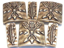 6 - 2 HOLE SLIDER BEADS BRASS NATIVE INDIAN WESTERN SOUTHWESTERN ARROW & FEATHER
