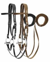 Showman Horse Size Nylon BRIDLE with O-RING Snaffle Bit Curb Chain & Split REINS